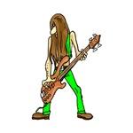 long hair rock guitarist green musician