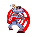 rocking robot guitarist red