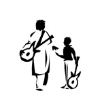 two guitar players outline black