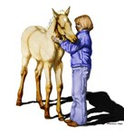 Palomino Foal with Girl,Colorized