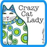 CRAZY CAT LADY IN BLUE