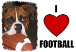I LOVE FOOTBALL (BOXER DOG LOOK)
