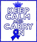 Colon Cancer Keep Calm Carry On Shirts