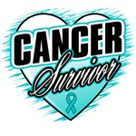 Ovarian Cancer Survivor Grunge Heart Shirts
