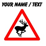 Custom Reindeer Warning Sign
