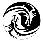 Black And White Yin Yang Dragons