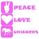 Pink Peace Love Unicorns