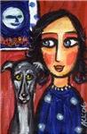 Greyhound lady folk art