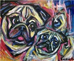 Smiling Pugs Abstract painting