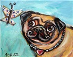 Pug butterfly love heart 