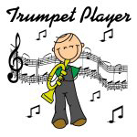 Trumpet Player Stick Figure T-shirts and Gifts