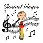 Clarinet Player Stick Figure T-shirts and Gifts