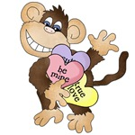 Monkey With Candy Hearts Tshirts and Gifts