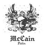 McCain Palin Skull & Wings Vintage Shirt '08