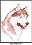 Blue Eye Red Siberian Husky Art Style Gift items