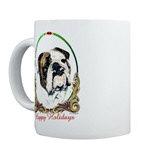 Bulldog Happy Holiday Mugs or Stein