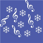 Treble Clef Snowflake Cards & Ornamentss