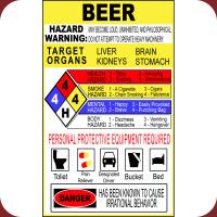 Warning Beer Hazardous Material Sign