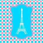 Eiffel Tower on Pink & Teal