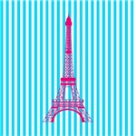Pink Eiffel Tower on Teal