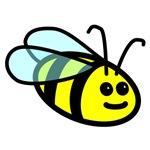 Cute bright bold bee graphic by Rosemary Amey.