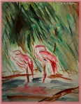 Flamingos! Wildlife/bird art!
