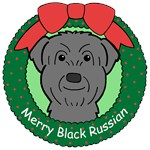 Black Russian Dog Christmas Ornaments