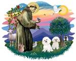 St. Francis #2 &<br> Bichon Frise (two)