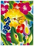 A Hummingbird in a Tropical Flower Garden Painting