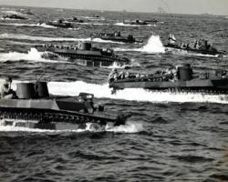 WWII US Marine landing on Iwo Jima