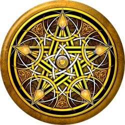 Yellow Crescent Moon Pentacle