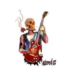 Shred it skull guitar player