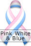 Pink White & Blue Ribbon