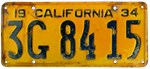 1934 California License Plate