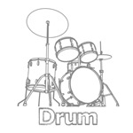 Outline Sketch Drummer