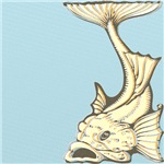 Art Nouveau Yellow Koi Fish