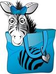 Zebra in a blue bag