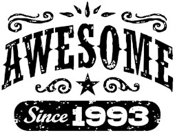 Awesome Since 1993 t-shirts