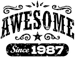 Awesome Since 1987 t-shirts