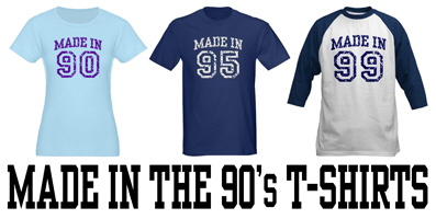 Made in the 90's t-shirts and gifts