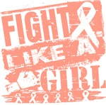 Endometrial Cancer Burnout Fight Like a Girl Shirt