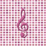cranberry clef on tiled pink