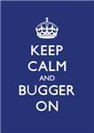 Churchill Keep Calm and Bugger On Navy Blue