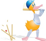 Cricketing duck - bowled!