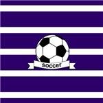 Soccer Ball Banner Purple White Stripes