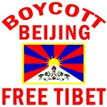 Boycott Beijing Free Tibet T-shirts and buttons