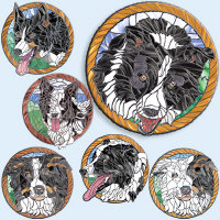 Stained Glass Border Collies,<br>Different Colors