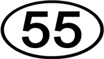 Number 55 Oval (Black)