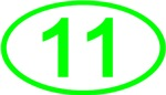 Number 11 Oval (Green)