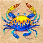 Blue Crab with Flames on the Beach
